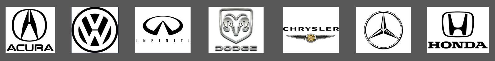 car make symbols - acura, walkswagon, infinity, dodge, chrysler, mercedes, honda